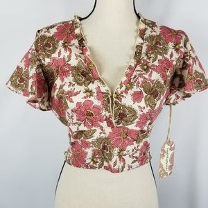 NWT Band of Gypsies Croatia Cropped Floral Top